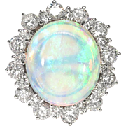 Vintage Estate 1980's 6.62ct t.w. Solid Opal & Diamond Halo Ring 14k White ...
