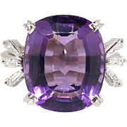 Vintage 1970's H.Stern 8.49ct t.w. Amethyst & Baguette Diamond Cocktail Anniversary Birthstone
