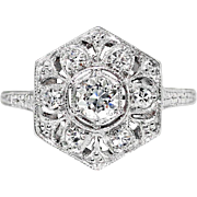 Vintage Art Deco 1930's .29ct t.w. Old European Cut Diamond Filigree Engraved Engagement ...
