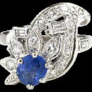 Vintage Retro 1940's 1.37ct t.w. Blue Sapphire & Diamond Cocktail Anniversary Ring Band ...