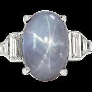 Art Deco 1930's Vintage 14.82ct t.w. Lavender Blue-Gray Star Sapphire Platinum ...