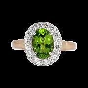 Beautiful Vintage Peridot & Diamond Halo Ring 18k