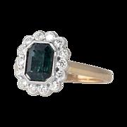 Gorgeous Deep Blue Green Tourmaline & Diamond Halo Ring 14k