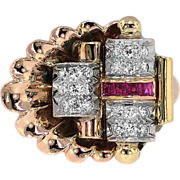 Enormous 1940's Ruby & Diamond Shell Cocktail Ring 16k/Plat