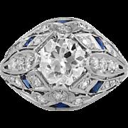 SALE Authentic Intricate Art Deco Old European Cut Diamond Engagement Ring Platinum