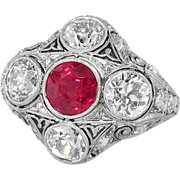 Magnificent Edwardian Diamond & Lab Ruby Filigree Engraved Ring Platinum