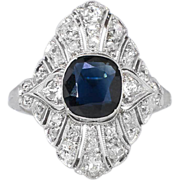 SALE Gorgeous 2.71ct t.w. 1920's Cushion Sapphire & Diamond Navette Ring 18k