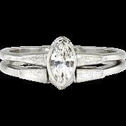 Vintage 1960's .40ct Marquise Diamond Wedding Ring Band Bridal Set 14k White Gold