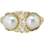 Transcendent Art Nouveau Double Cultured Akoya Pearl & Old Mine Cut Diamond Ring 18k