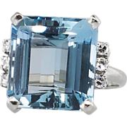 Glamorous 10.26ct t.w. 1940's Emerald Cut Aquamarine & Diamond Ring 18k