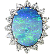 Vintage Estate 1970's 7.47ct t.w. Solid Boulder Opal & Diamond Halo Princess Di ...