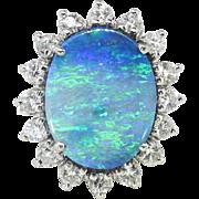 Vintage Estate 1970's 7.47ct t.w. Solid Boulder Opal & Diamond Halo Princess Di ...