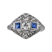 SALE Intricate Authentic Art Deco Old European Cut Diamond & Sapphire Ring 18k