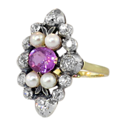 Exquisite Edwardian Sapphire, Pearl & Old Mine Cut Diamond Cocktail Ring 14k