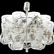 Mid-Century Silver Leaf Barware Set