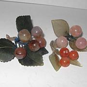 Jade, Quartz, Agate Fruit, 3 pc.