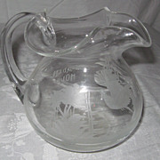 "Hand-Blown, Etched Glass Pitcher, ""Garden House"""