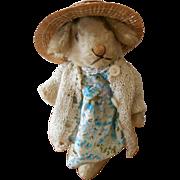 """Steiff mohair 6"""" Niki Rabbit dressed for a Tea Party"""