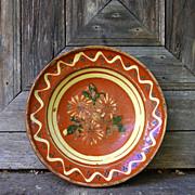 French / German (Alsace) antique soufflenheim orange glazed clay decorated platter