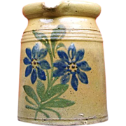 Old French / Alsatian milk pitcher with blue flowers