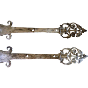 Pair of sophisticated rare renaissance wrought iron hinges
