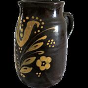 French German Alsatian brown glazed manganese mid 20' pitcher