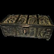 Bronze miniature jewel box medieval gothic style