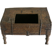 17th Century Old Wooden Chest Gathered with Wrought Iron