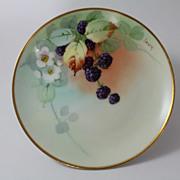 Blackberry Dessert Plate Pickard Artist Hand Painted Signed Reury Austrian Porcelain