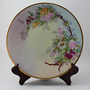 Roses Plate Hand Painted Signed Gripp Jean Pouyat Limoges Porcelain