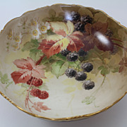 Blackberry Raspberry Tri-Footed Master Berry Bowl Hand Painted Tressemann & Vogt Limoges ...