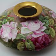Roses Large Low Squat Vase Hand Painted Artist Signed Lane Tressemann & Vogt Limoges Porcelain