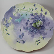 Violets and Scrolls Charger Tray Plaque Hand Painted Tressemann & Vogt Limoges Porcelain