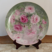 Pink Roses Charger Tray Hand Painted Porcelain Signed Ruth Little