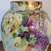 Lilacs Roses Large Vase Hand Painted Delinieres and Cie. Limoges Porcelain