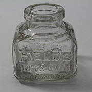 SOLD Old English Fields Ink Bottle Blown in Mold Square and Embossed