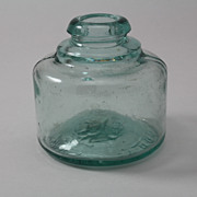 SOLD Old English Mabie Todd Swan Embossed Round Ink Bottle Blown in Mold Aqua Glass