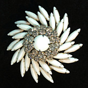 Signed Classic Summer White 1960's  Judy Lee Brooch/Pendant