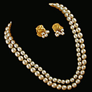 Miriam Haskell Signed Simulated Baroque Pearl Demi-Parure