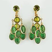 1960's Chandelier Dangle Emerald Glass Earrings