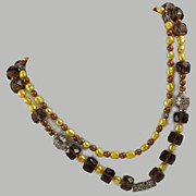Smokey Quartz Cultured Baroque Pearls Sterling Openwork Beads X-Long Necklace