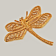 Large Gold Tone Dragonfly Crystal Brooch Pin c1980