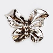 Sterling Butterfly 3 - D Ruffled Puffy Brooch