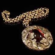 Whiting & Davis Art Nouveau Gold Tone Grape leaf Amber Glass Pendant Necklace