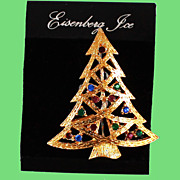 Mint Eisenberg Ice Christmas Tree Brooch Original Card