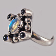 Modernist Indicolite Tourmaline Sterling Ring c1950