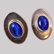 Mexican  Neon Cat's Eye Signed Sterling Post Earrings c1940's