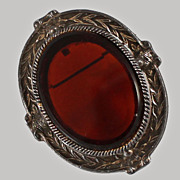 Art Deco Sterling X Large Pendant Brooch Cherry Amber Glass c1930