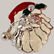 1950's Santa Claus Enamel Rhinestone Brooch w / Bell