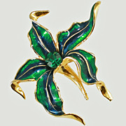 Large 1960's Enamel Rhinestone Poinsettia Brooch Pin